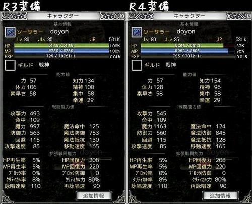 ソサR3R4装備ステータス比較