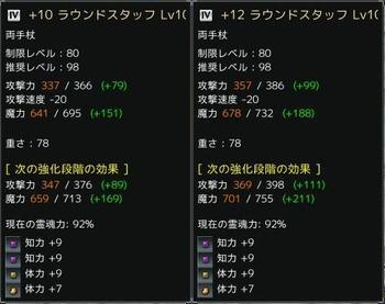 ラウンドスタッフ +10と+12の比較