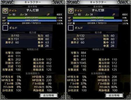 装備変更によるステータス比較