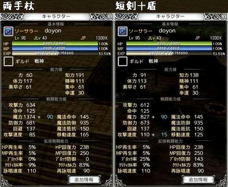 両手杖と短剣+盾のステータス比較